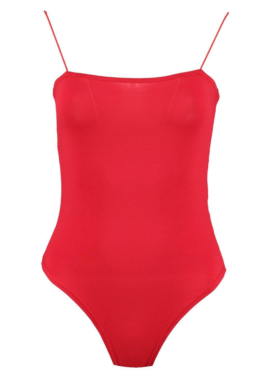 NEW-Boohoo-Womens-Olivia-Skinny-Strap-Square-Neck-Bodysuit-in-Polyester