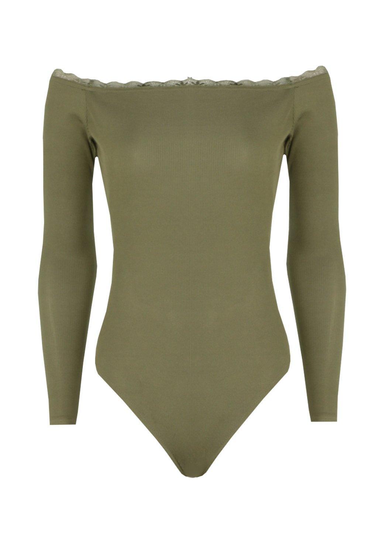 Shoulder khaki Bodysuit Rib Trim The Off Lace fpqxwaZ6z