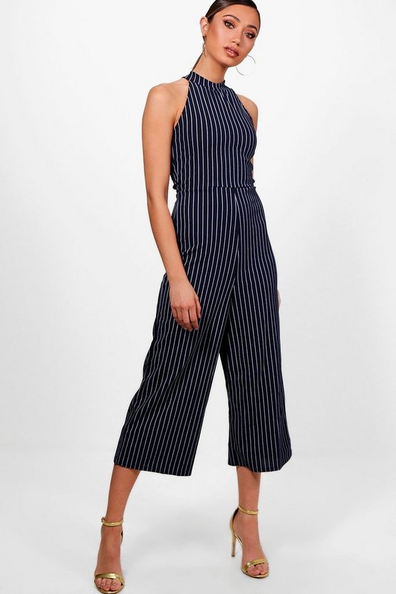 Pinstripe High Neck Culotte Jumpsuit