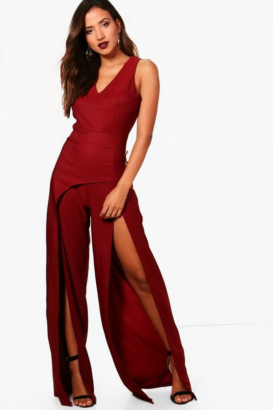 Split Front Wide Leg Jumpsuit