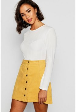 Womens Mustard Button Through Cord Mini Skirt
