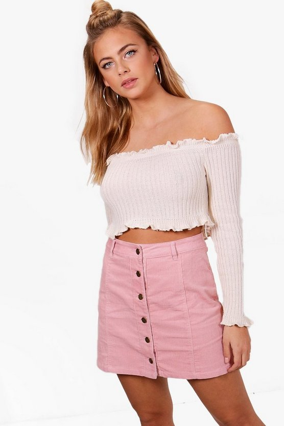 Womens Pink Button Through Cord Mini Skirt