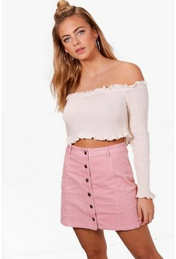 Pink Button Through Cord Mini Skirt