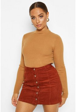 Tan Button Through Cord Mini Skirt