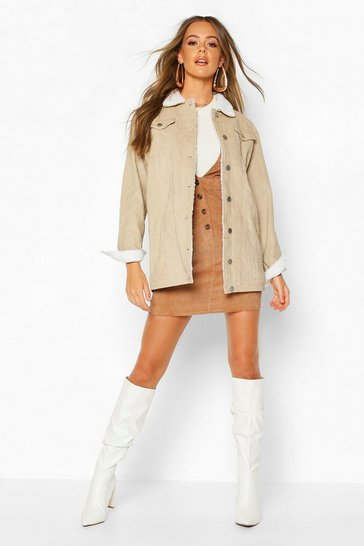 Womens Stone Borg Long Line Cord Jacket