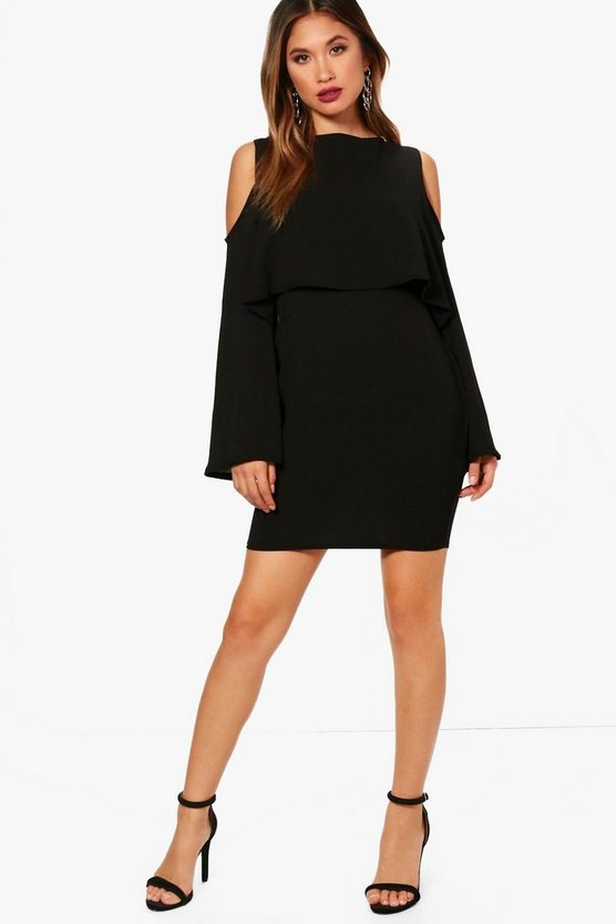 Cold Shoulder Double Layer Long Sleeve Dress