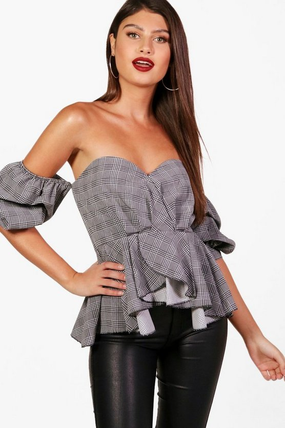 Prince Of Wales Check Ruched Sleeve Top