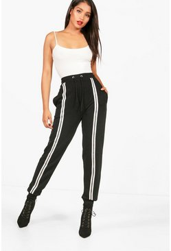 Womens Black Front Stripe Sweat Jogger
