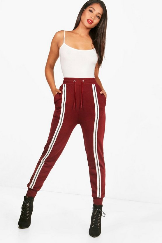 Womens Burgundy Front Stripe Sweat Jogger