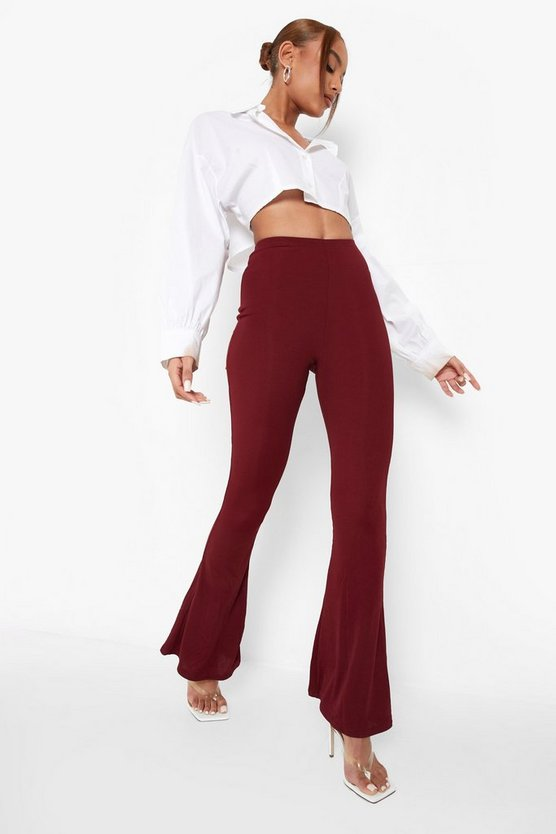 Womens Berry High Waist Basic Ribbed Skinny Flares
