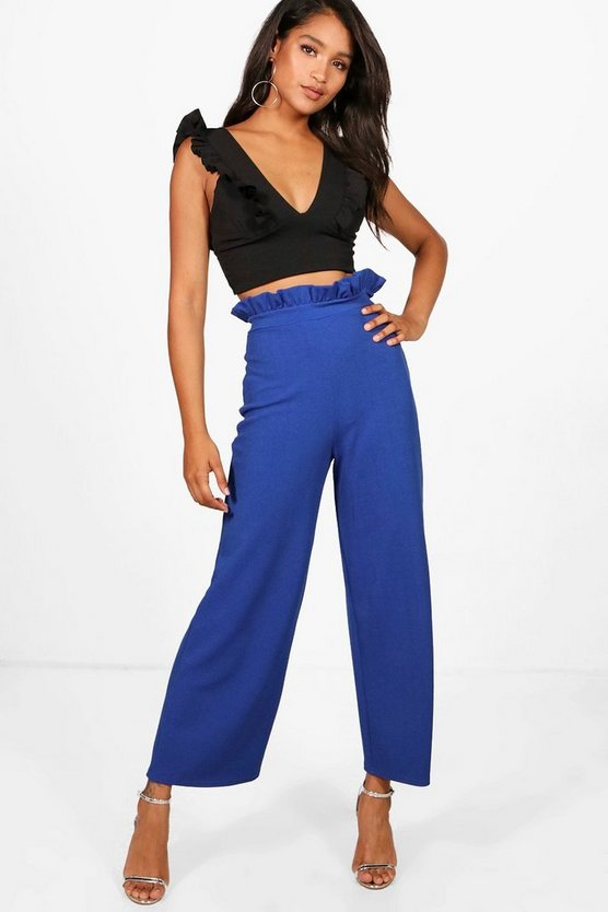 Crepe Shirred Wide Leg Trouser