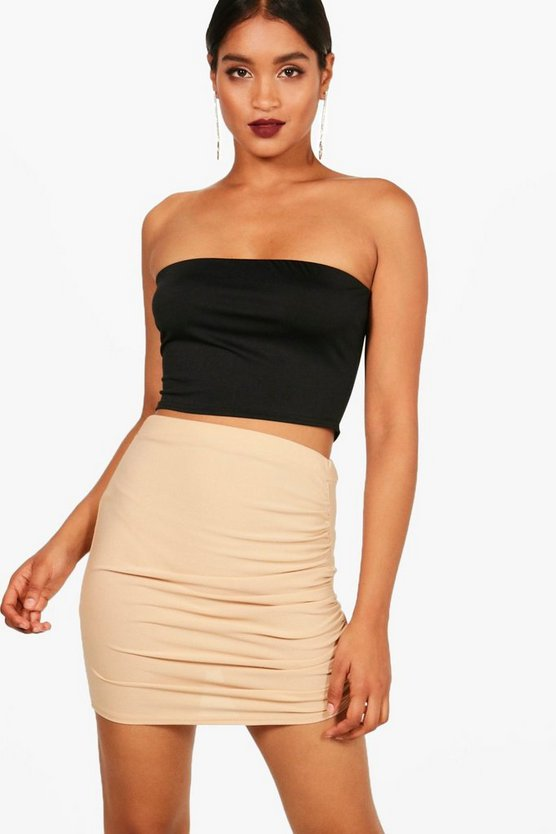 Crepe Rouched Side Mini Skirt