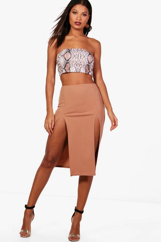 Scarlett Double Thigh Split Crepe Midi Skirt