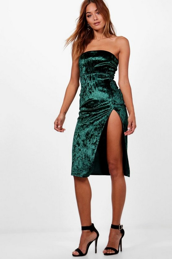 Womens Emerald Bandeau Velvet Thigh Split Midi Dress