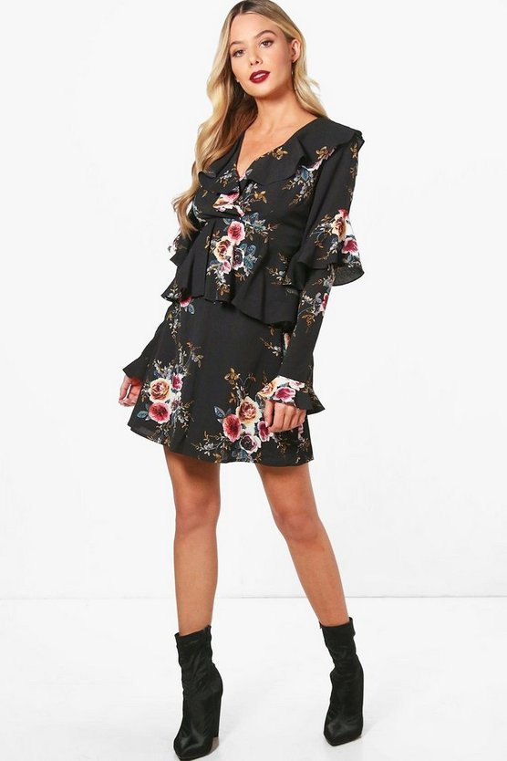 Womens Ruffle Detail Floral Woven Tea Dress