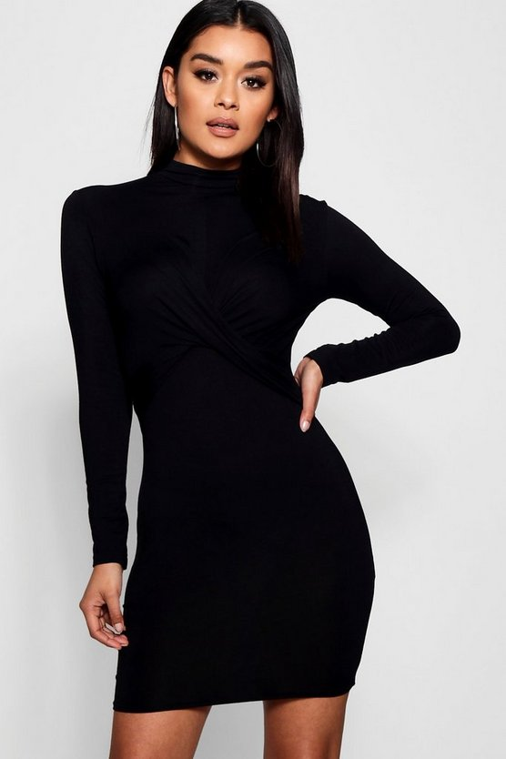 Womens Black Knot Front High Neck Long Sleeved Mini Dress
