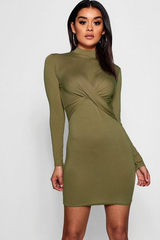 Knot Front High Neck Long Sleeved Mini Dress