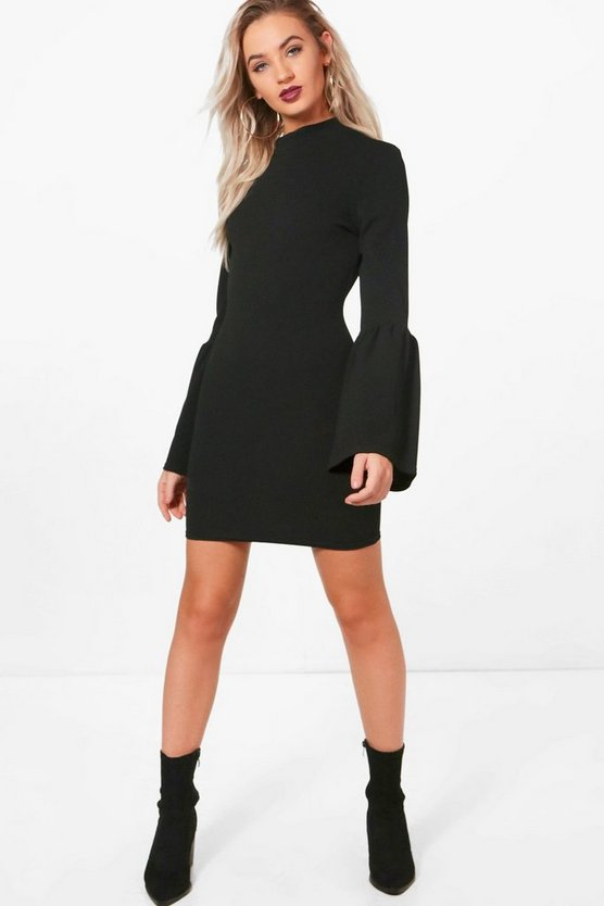 High Neck Crepe Flare Sleeve Shift Dress