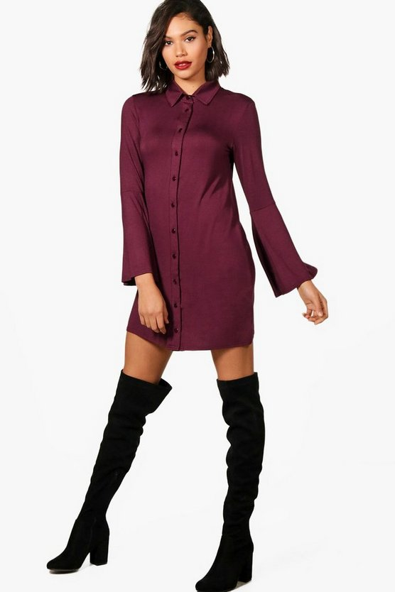 Womens Berry Flute Sleeve Shirt Dress