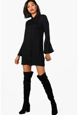 Womens Black Flute Sleeve Shirt Dress