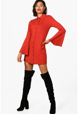 Womens Terracotta Flute Sleeve Shirt Dress