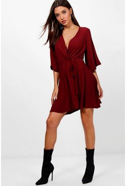 Womens Berry Wrap Front Belted Wide Sleeve Dress