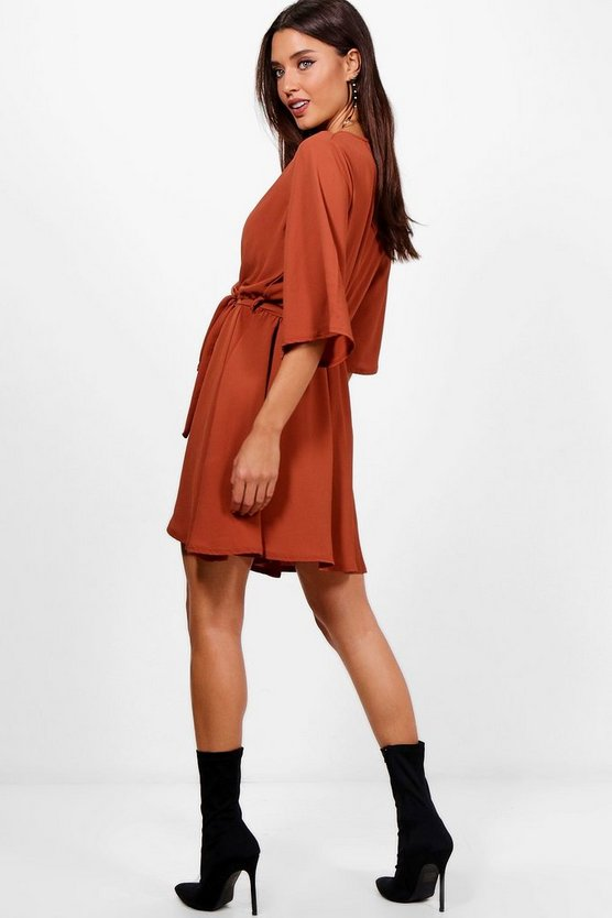 Wrap Front Belted Wide Sleeve Dress