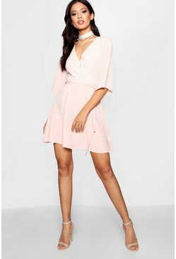 Womens Desert rose Wrap Front Belted Wide Sleeve Dress