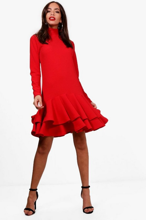 High Neck Drop Hem Shift Dress