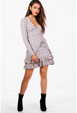 Womens Grey Soft Check Ruffle Tea Dress