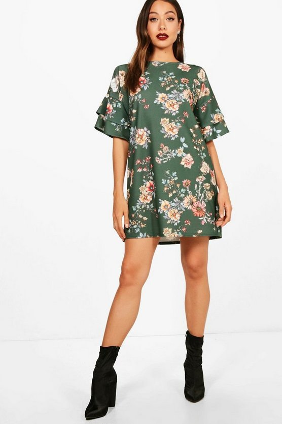 Frill Sleeve Floral Printed Shift Dress