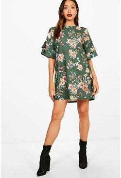 Womens Evergreen Frill Sleeve Floral Printed Shift Dress