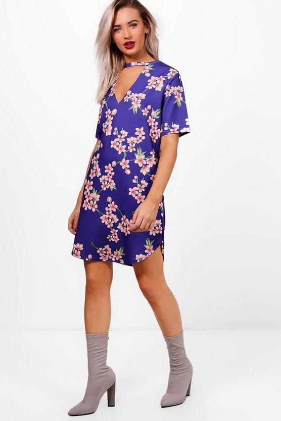 Curved Hem Choker Floral Shift Dress