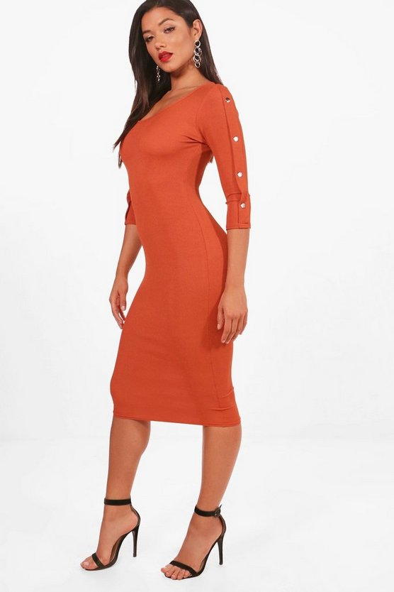 Popper Sleeve Detail Ribbed Midi Dress