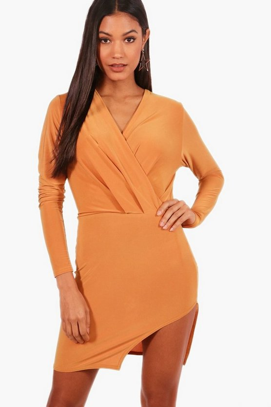 Slinky Drape Wrap Top Bodycon Dress