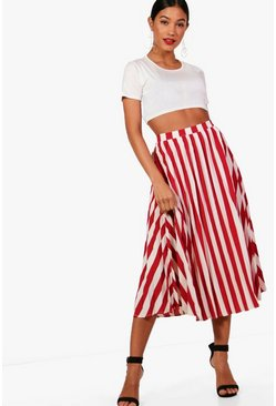 Womens Berry Woven Pleated Stripe Midi Skater Skirt