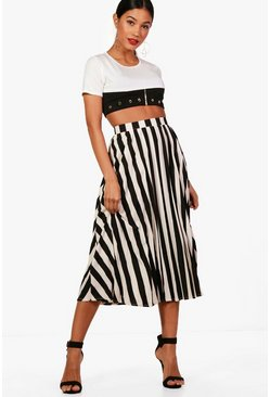Womens Black Woven Pleated Stripe Midi Skater Skirt