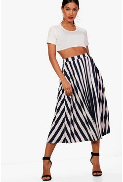 Womens Navy Woven Pleated Stripe Midi Skater Skirt