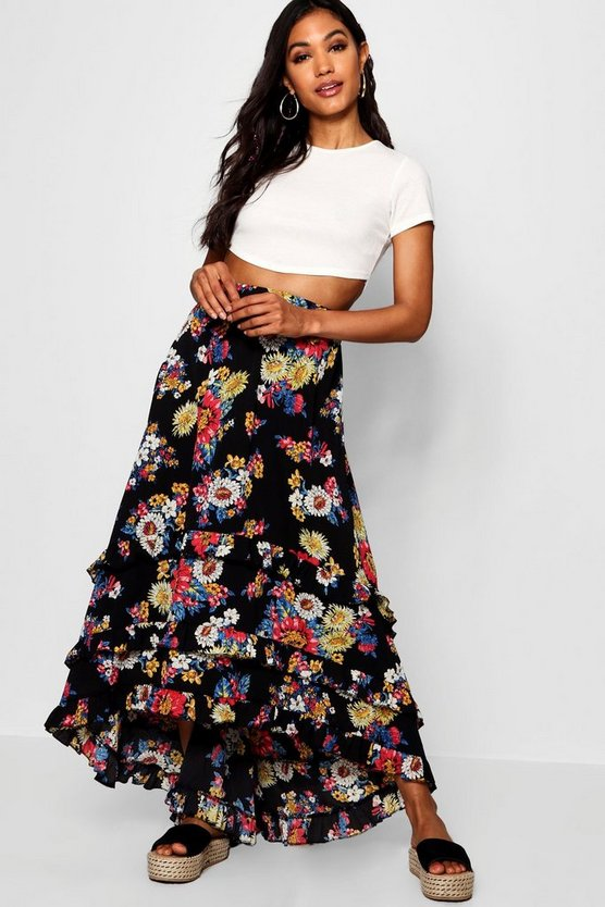 Woven Floral Chiffon Tiered Maxi Skirt