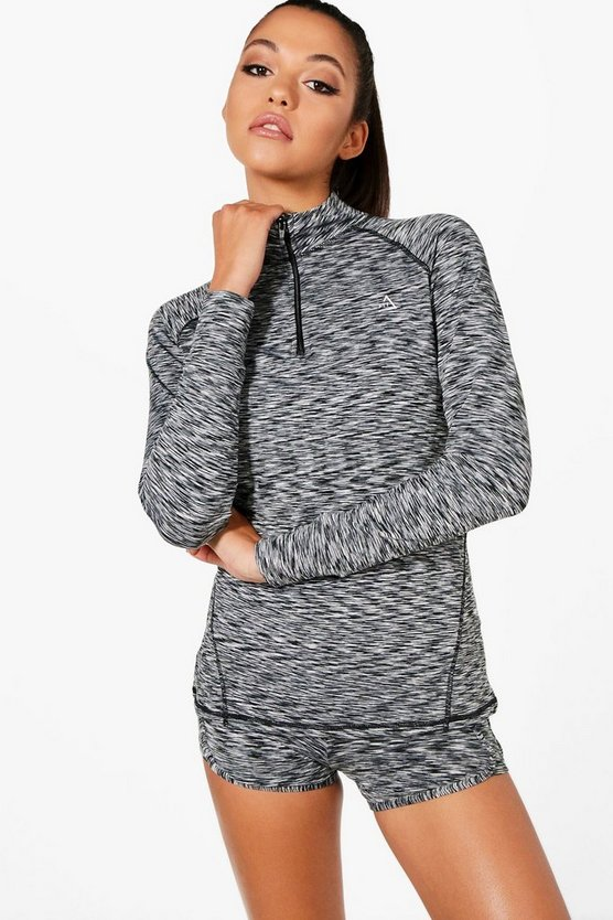 Womens Grey Fit Spacedye Half Zip Gym Top