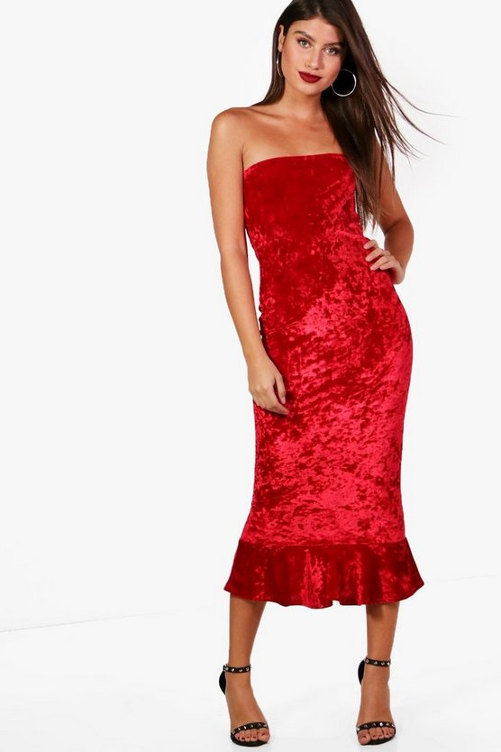 Crushed Velvet Bandeau Midi Dress