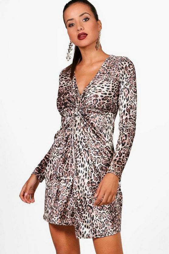 Velvet Leopard Long Sleeve Dress