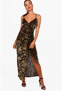Womens Gold Devore Velvet Thigh Split Maxi Dress