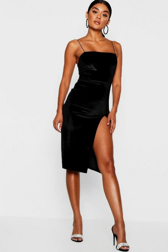 Black Velvet Square Neck Side Split Midi Dress