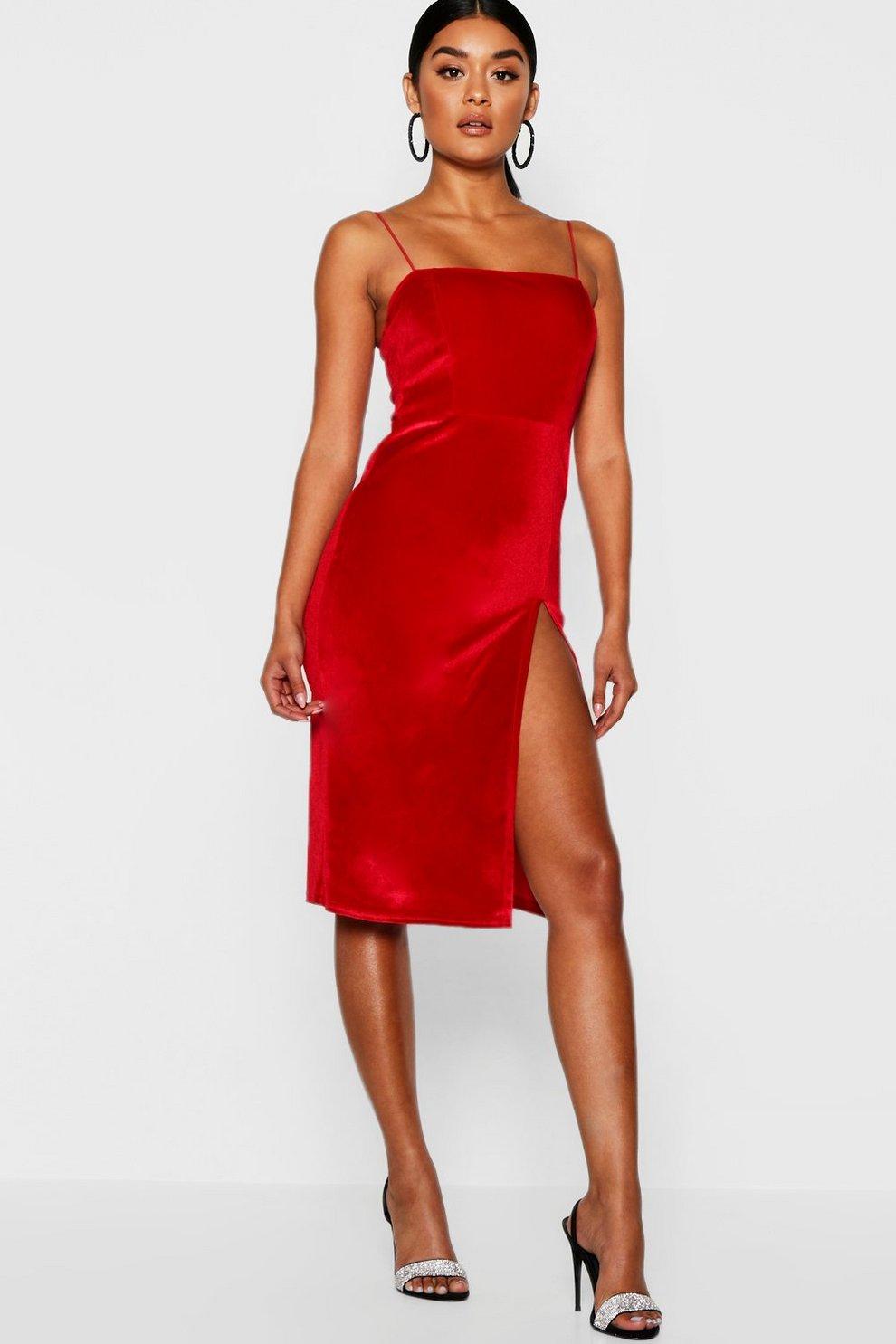 bf3ef38abbe Velvet Square Neck Side Split Midi Dress