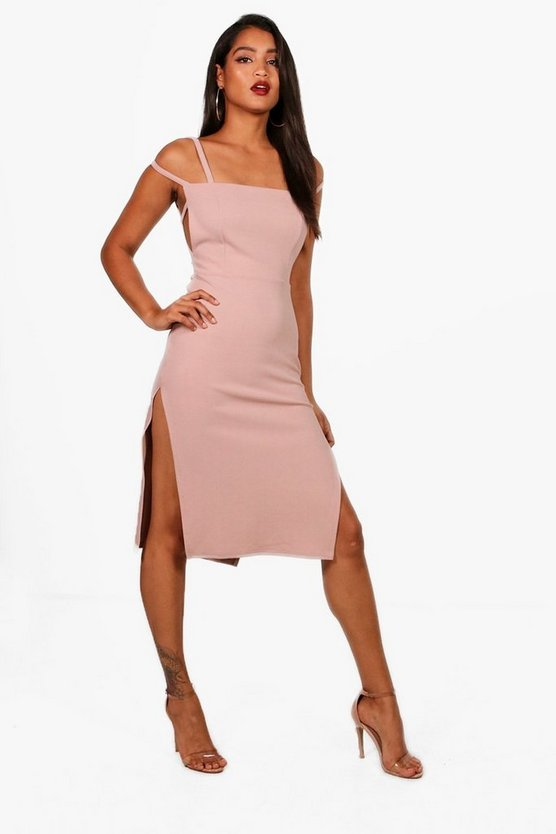 Square Neck Strappy Detail Midi Dress
