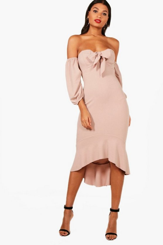 Mink Off the Shoulder Puff Sleeve Midi Dress