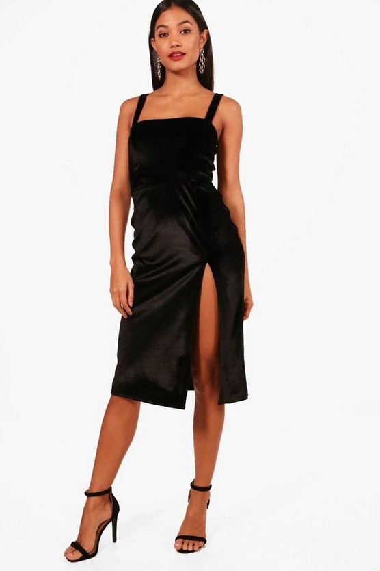 Velvet Strappy Split Leg Midi Dress