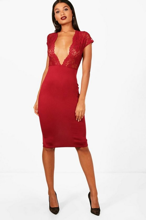 Womens Berry Lace Capped Sleeve Plunge Midi Dress