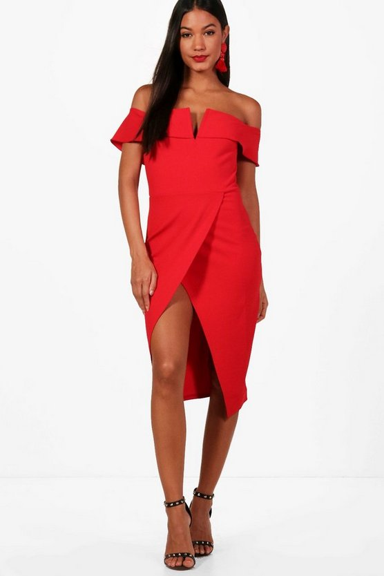 Claire Off the Shoulder Wrap Skirt Midi Dress